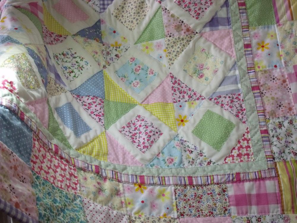 Girls Patchwork Quilt Handmade Quilt Pastel Colours Quilt