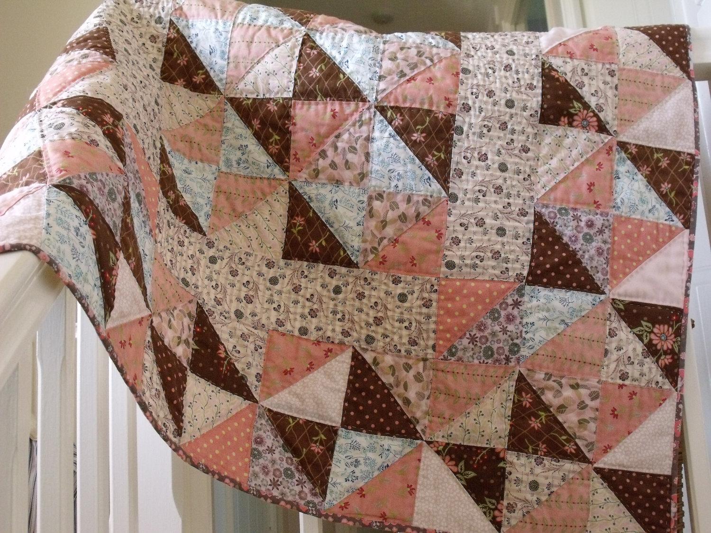 Handmade Baby Quilt Modern Patchwork Quilt Crib Quilt Play Mat ... : brown patchwork quilt - Adamdwight.com
